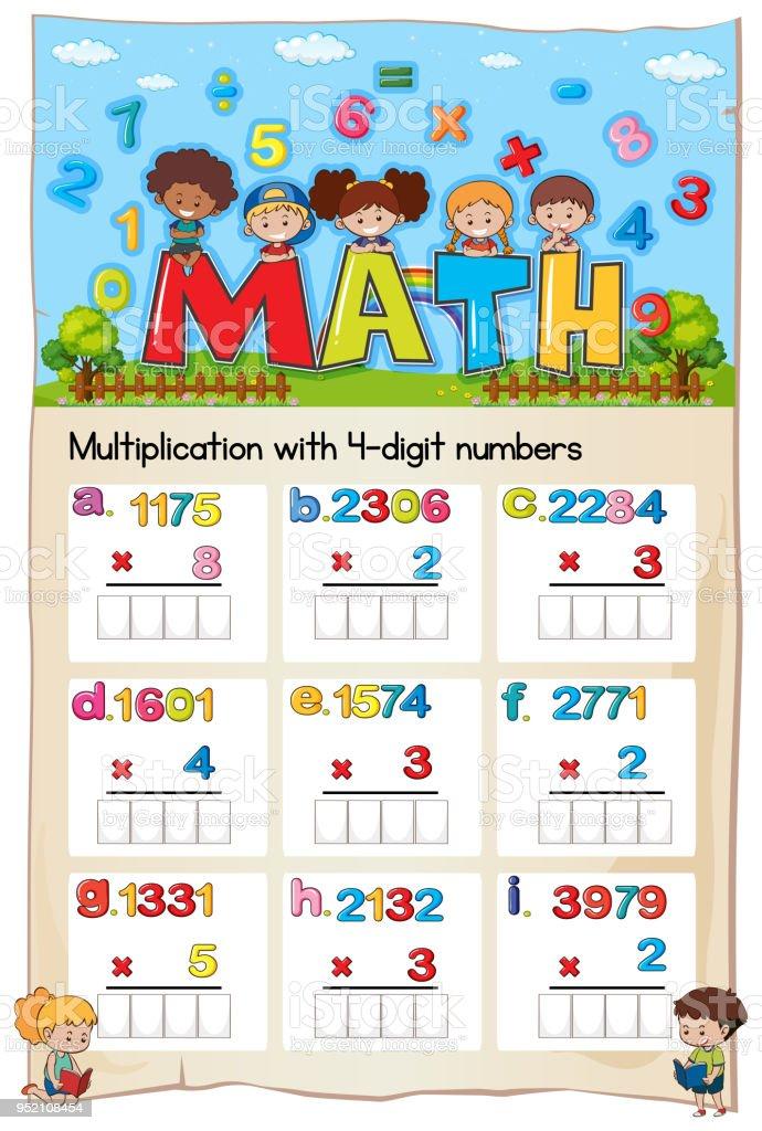 Mathematik Arbeitsblatt Multiplikation Zahl Kapitel Stock Vektor Art ...