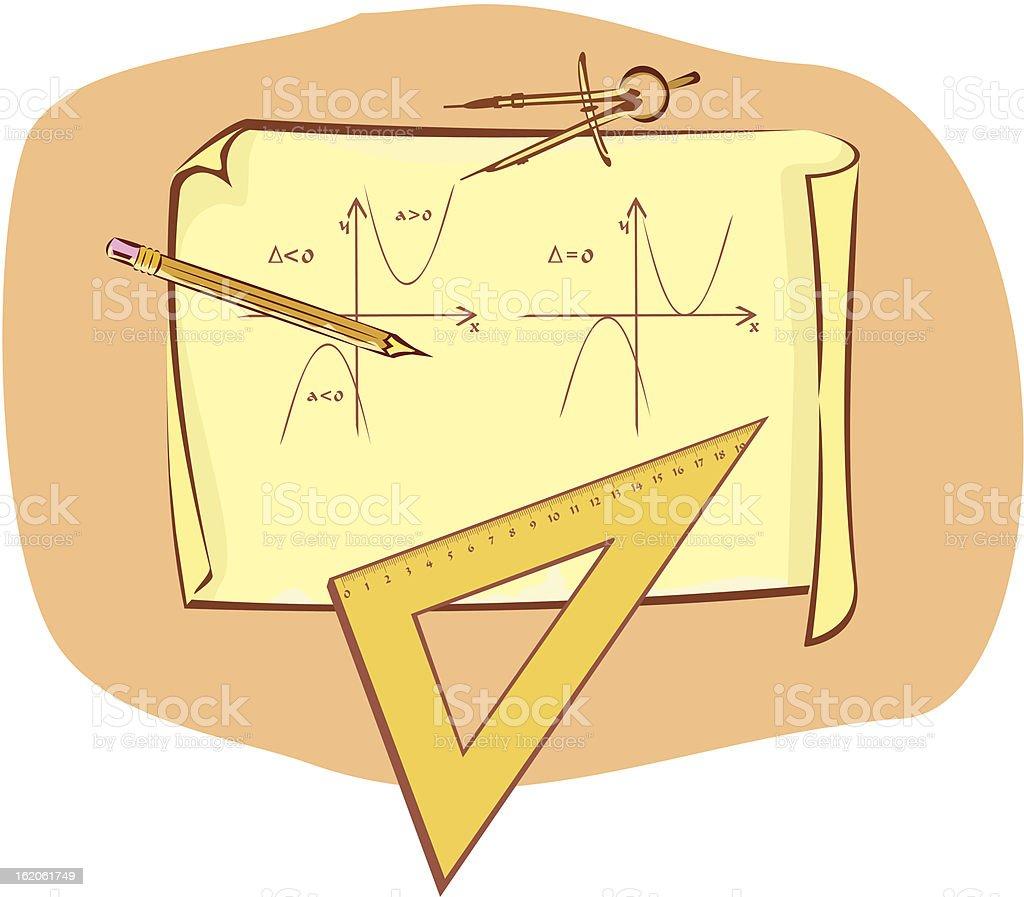 mathematics - written exam vector art illustration