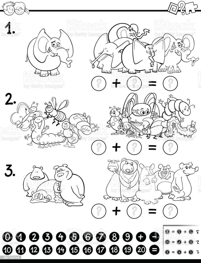 Matematik Etkinlik Boyama Sayfası Stok Vektör Sanatı Anaokulunin