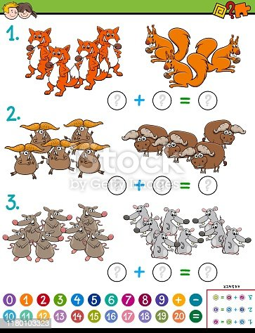 Cartoon Illustration of Educational Mathematical Addition Puzzle Task for Kids with Wild Animal Characters
