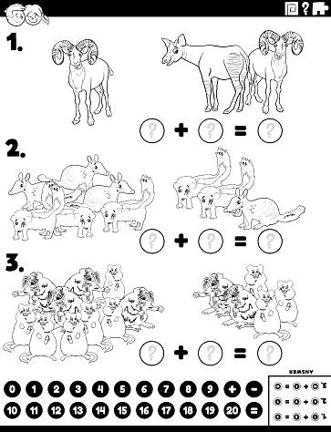 maths addition educational task with cartoon animals