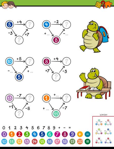 juego educativo de matemáticas cálculo para niños - ilustración de arte vectorial