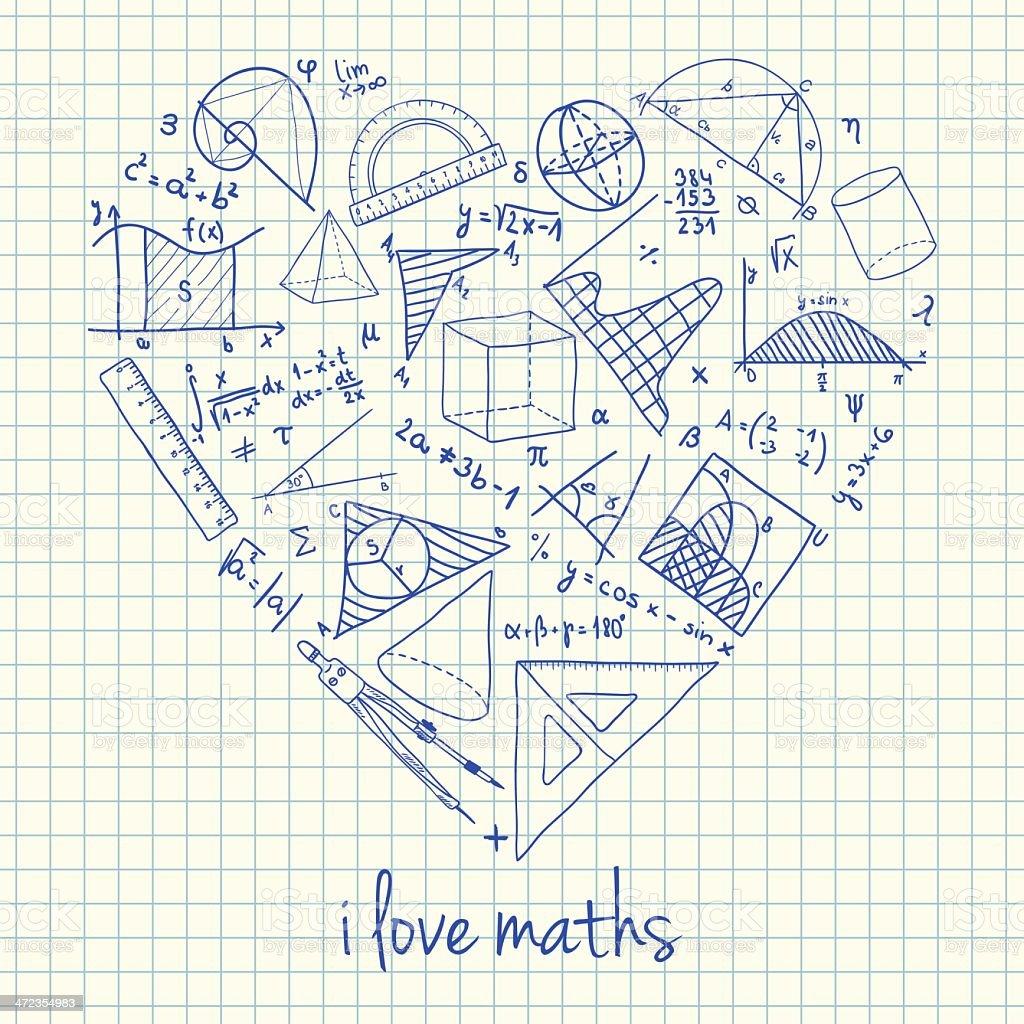 Maths drawings in heart shape vector art illustration