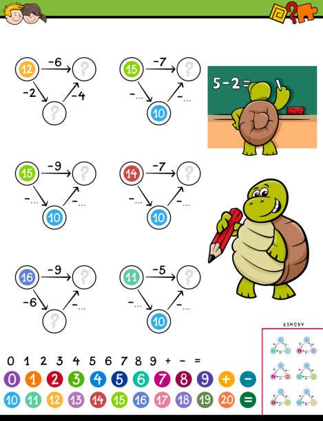 juego educativo de matemáticas resta para niños - ilustración de arte vectorial