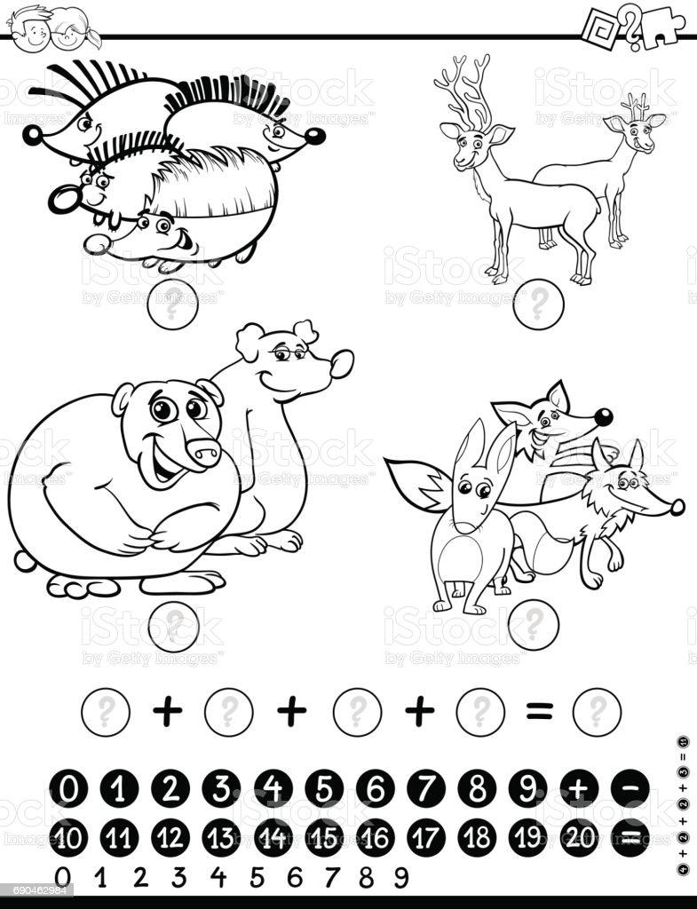 Ilustración de Hoja De Trabajo De Matemáticas Para Colorear y más ...