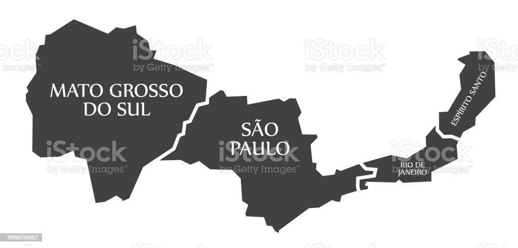 Mato Grosso Do Sul Sao Paulo Rio De Janeiro Espirito Santo Map ...