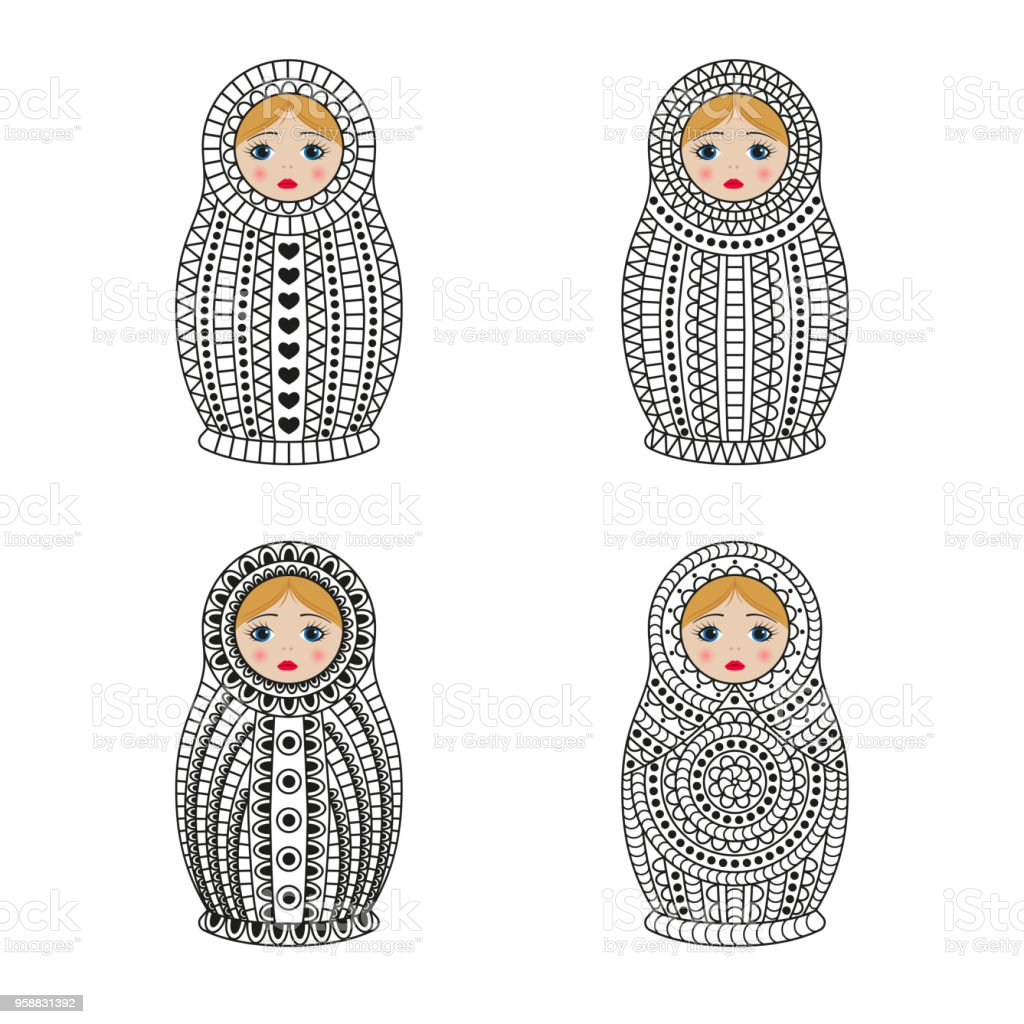 Matrioshka Or Nesting Dolls Set Isolated On White Background Babushka With Ornamental Patterns Royalty