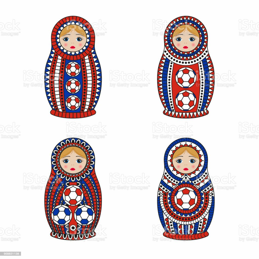 Matrioshka or nesting dolls set isolated on white background. Matroska is painted in national colors of Russia and has an ornament with football pattern vector art illustration