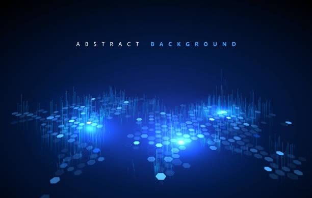 Matrix aus unzähligen Blöcken, Big Data, Globalisierungskonzept. – Vektorgrafik