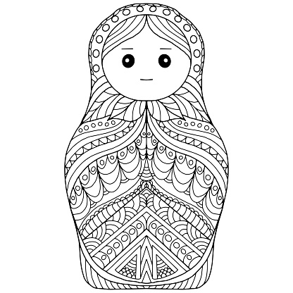 matroska drawn with folk flowers and ornaments on a white background for coloring, vector