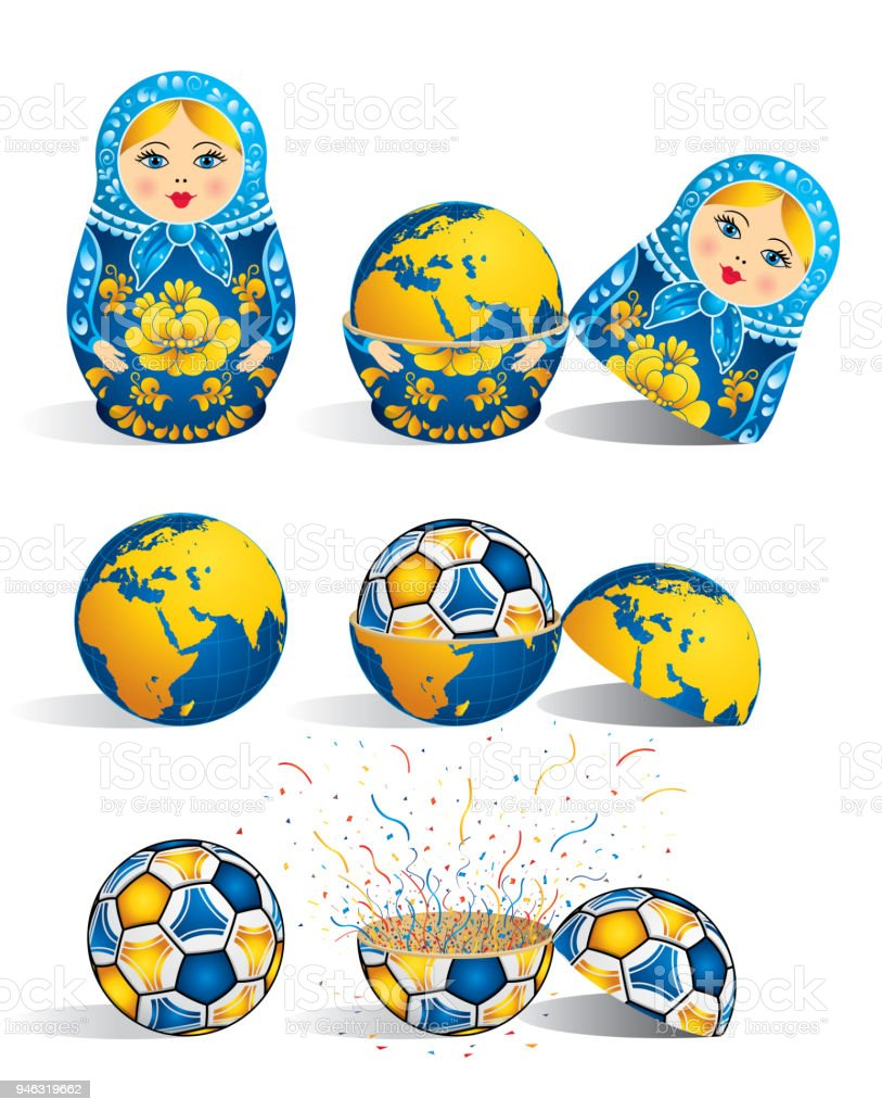Matryoshka in blue color with a planet inside and inside the world there is soccer ball and inside the ball there is explosion of confetti. Matryoshka doll also known as a Russian nesting doll is a set of wooden dolls of decreasing size vector art illustration