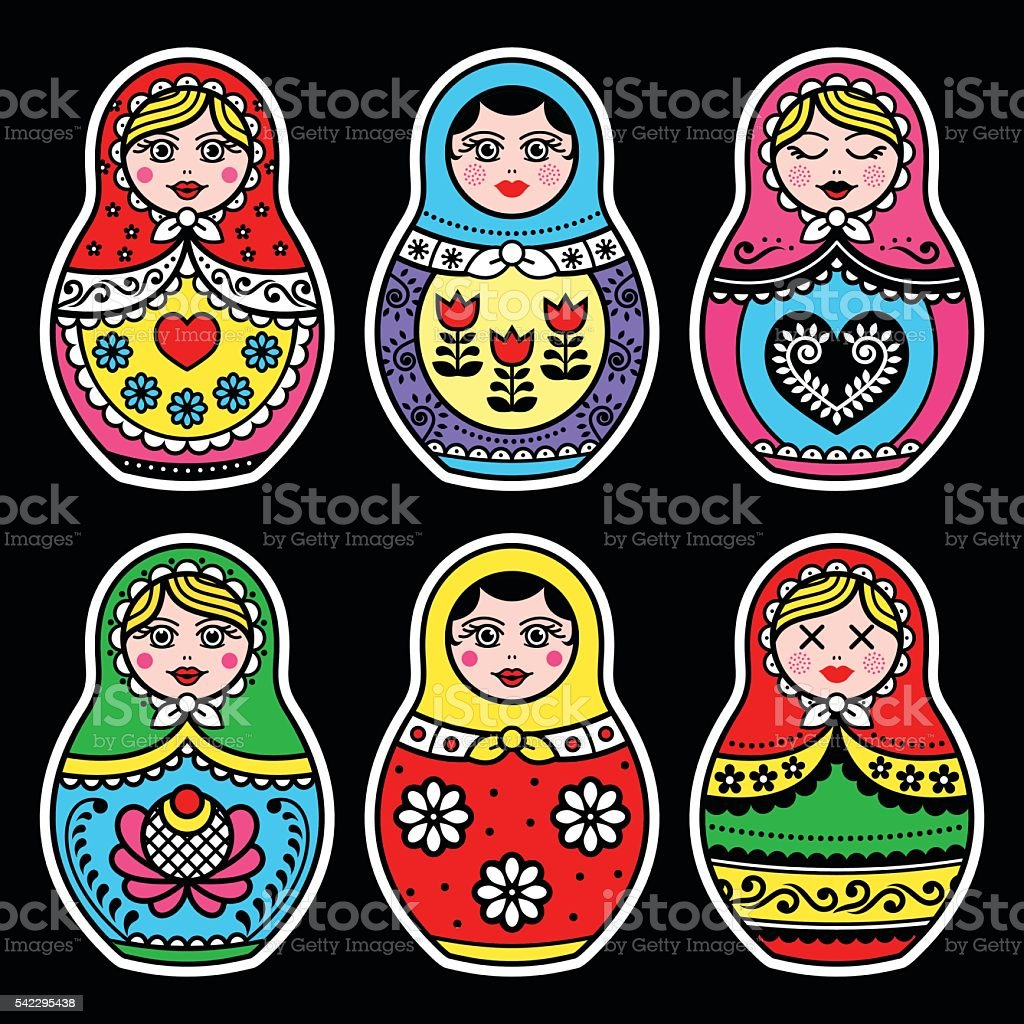 Matryoshka, Russian doll colorful icons set on black vector art illustration