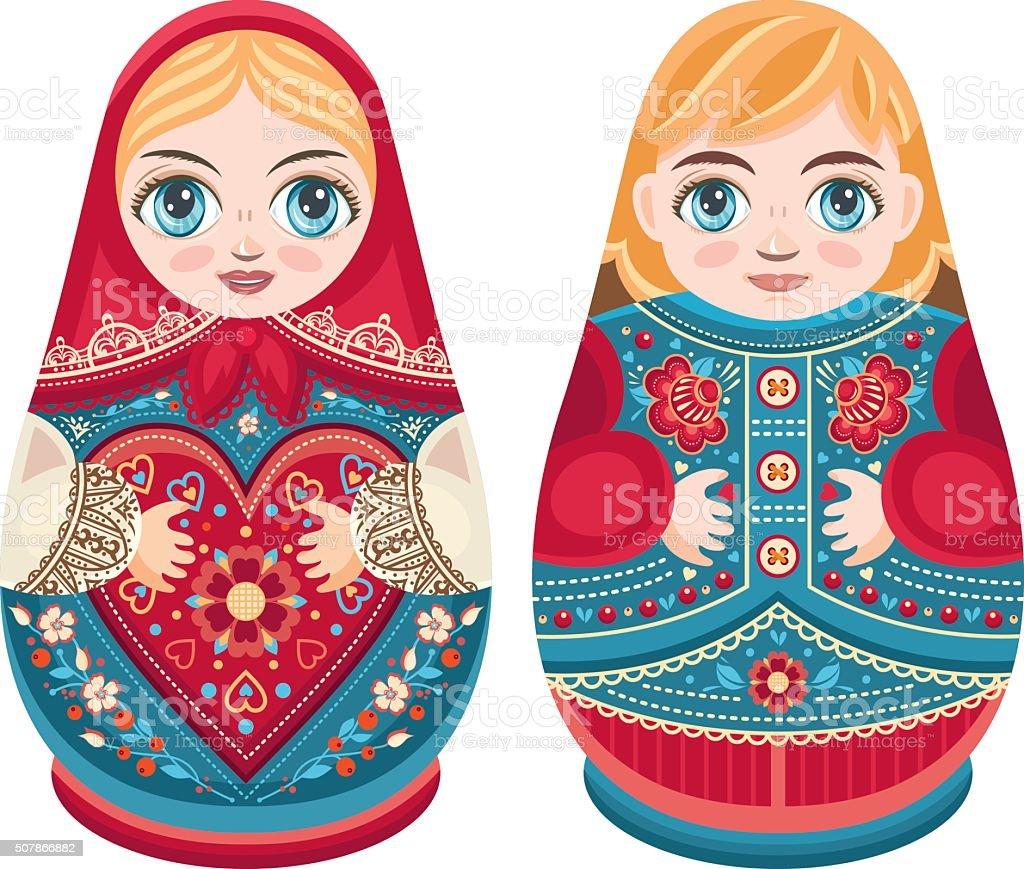 Matryoshka. Russian folk nesting doll. Boy and girl. vector art illustration