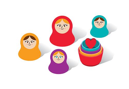 Matryoshka Russian Nesting Dolls Vector Illustration