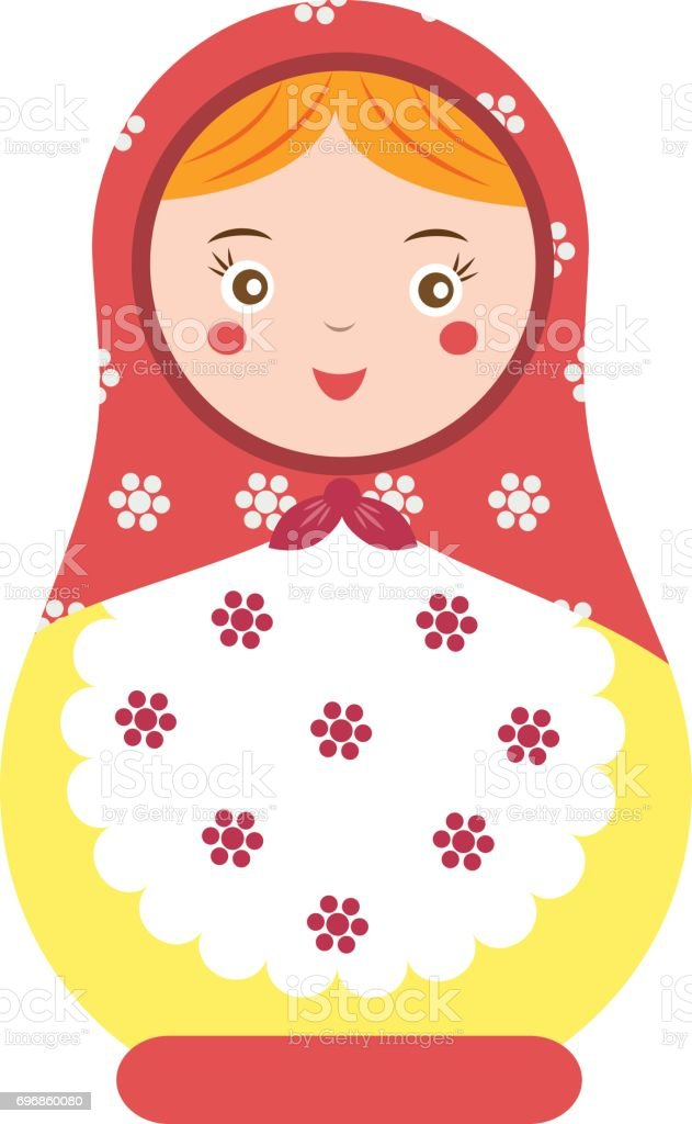Matryoshka. Traditional russian nesting doll. Smiling Matreshka icon. Vector illustration vector art illustration