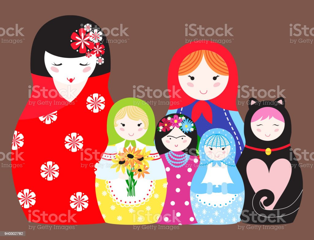 Matryoshka Vector Traditional Russian Nesting Doll Toy With Handmade Ornament Figure Pattern Child Face And