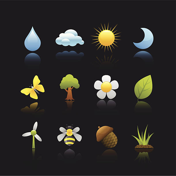 матовой серии икона-среде - four seasons stock illustrations