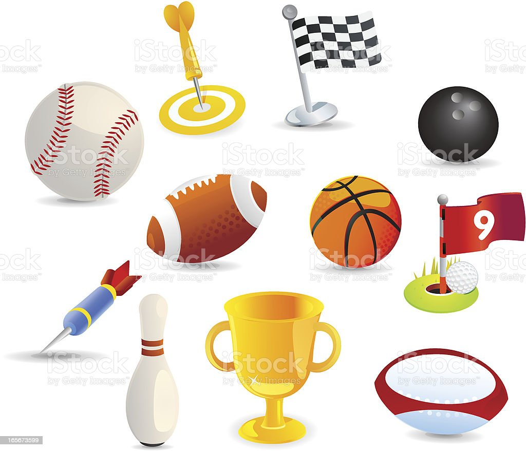 Matte Sports Icons royalty-free stock vector art