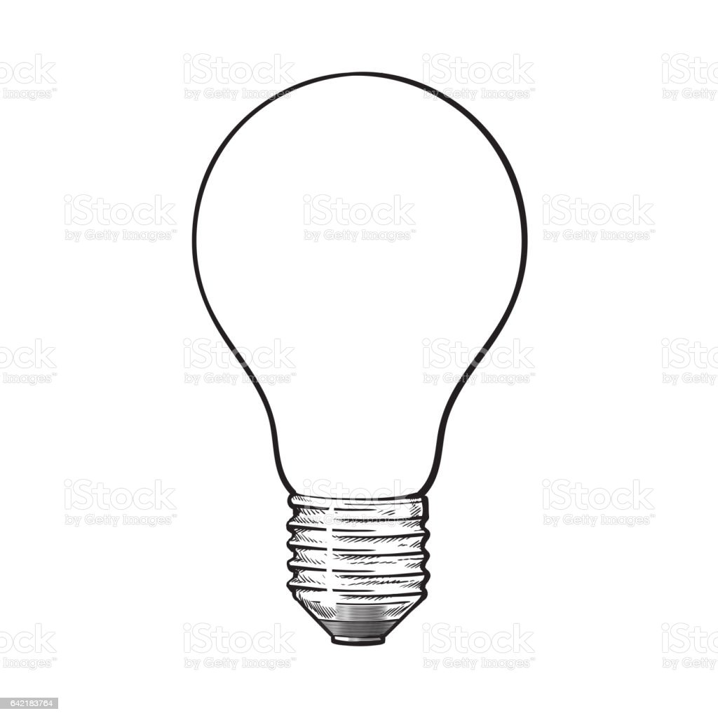 Matted Opaque Tungsten Light Bulb Side View Sketch Vector