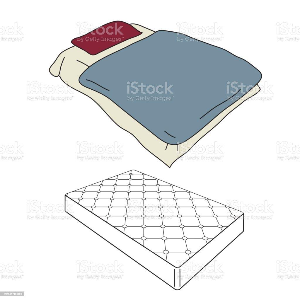 Mattress and bedding vector art illustration