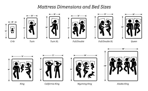 Mattress Dimensions and Bed Sizes. Pictograms depict icons of people sleeping on different bed sizes that include dimension measurements for crib, twin, XL, full, double, queen, and king size bed. man sleeping stock illustrations