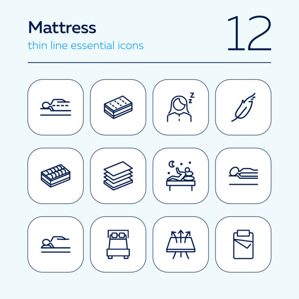 illustrations, cliparts, dessins animés et icônes de ensemble d'icônede mattress - matelas