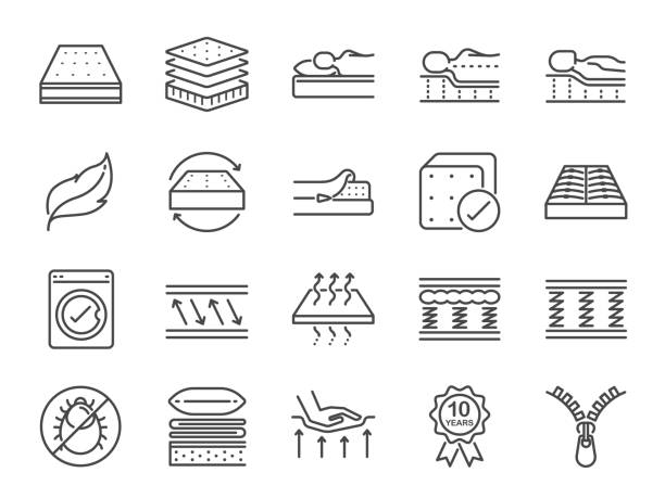 mattress line icon set. included the icons as washable cover, breathable, memory foam, bedding, pad and more. - miękkość stock illustrations