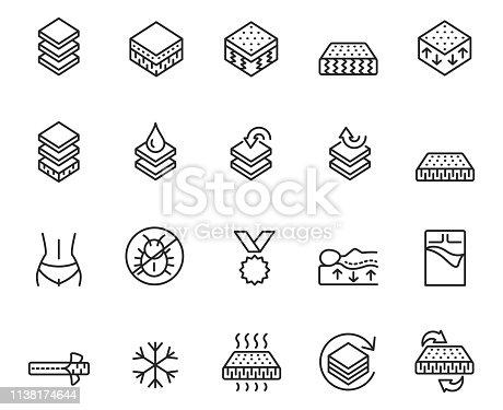 Mattress line icon set , vector illustration