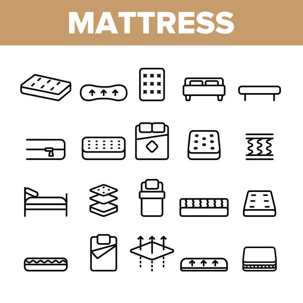Mattress Types And Material Vector Linear Icons Set Mattress Types And Material Vector Linear Icons Set. Orthopedic And Antiallergic Comfortable Mattress Outline Symbols Pack. Bio And Organic Breathable Bedding Isolated Contour Illustration latex stock illustrations