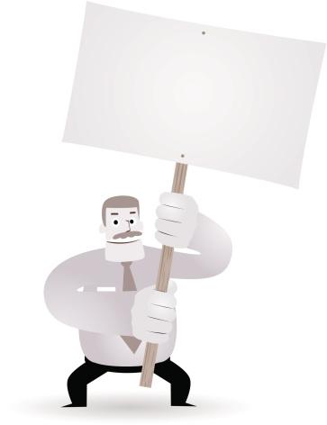 Mature businessman( teacher, boss ) holding a blank sign(message)