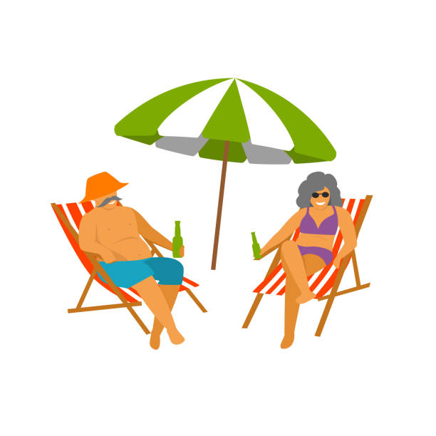mature couple enjoying beach vacations isolated vector graphic vector art illustration