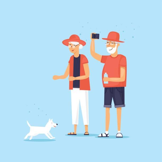 中高年カップル犬を散歩します。ベクトル図のフラット スタイル。 - 老夫婦点のイラスト素材/クリップアート素材/マンガ素材/アイコン素材