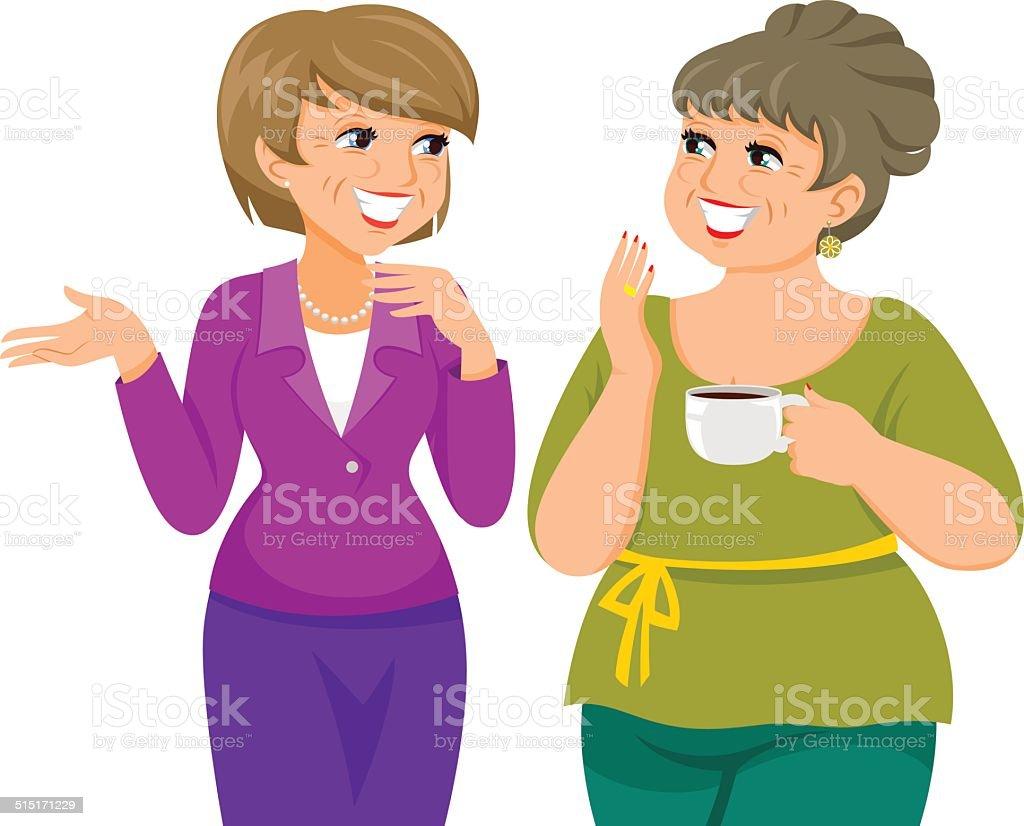 mature ladies vector art illustration