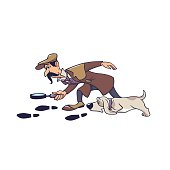Mature male detective with dog following on track isolated on white. Man cartoon character looking on trace using magnifying glass doggy hunting by footprints vector graphic illustration