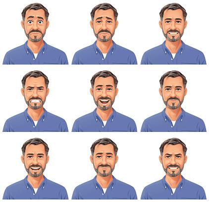 Mature Man With Beard Portrait- Emotions