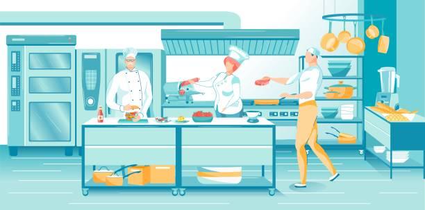 ilustraciones, imágenes clip art, dibujos animados e iconos de stock de madura master chef cookers en restaurant kitchen - busy restaurant kitchen