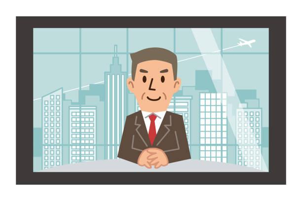モニターに成熟した中年男 - テレビ会議 日本人点のイラスト素材/クリップアート素材/マンガ素材/アイコン素材