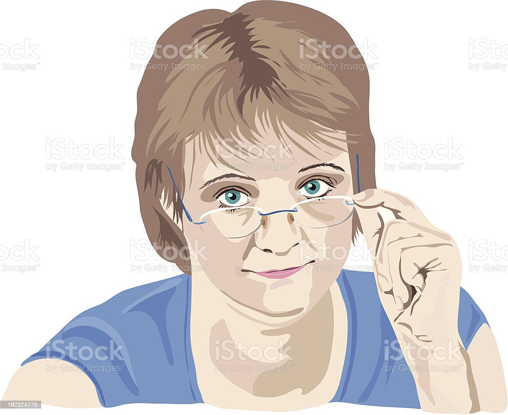 mature woman looking over the glasses royalty-free stock vector art