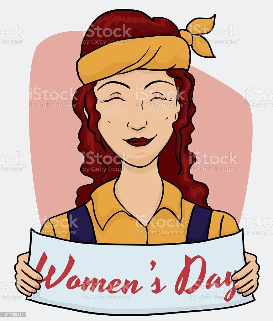 Dia Del Trabajador Mujeres ilustración de trabajador pelirrojo madura con un cartel con