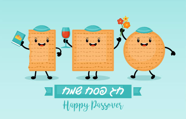matzo funny cartoon characters - passover stock illustrations, clip art, cartoons, & icons