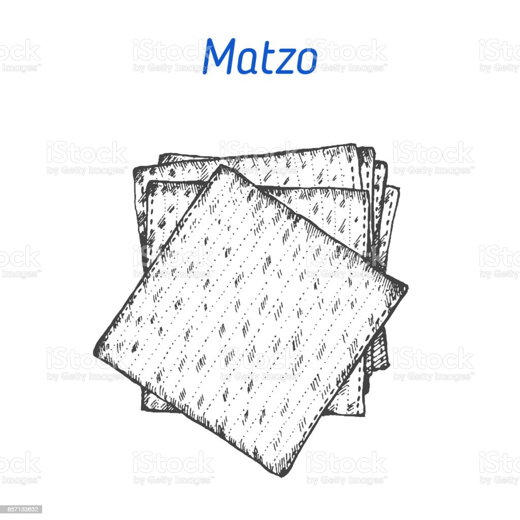 Matzo vector illustration. Hand drawn image. Jewish food vector art illustration
