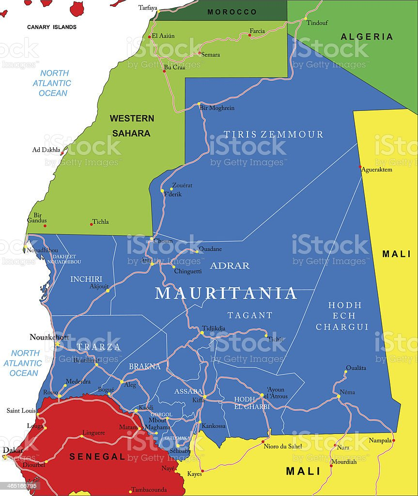 Carte Algerie Mauritanie.La Mauritanie Carte Vecteurs Libres De Droits Et Plus D