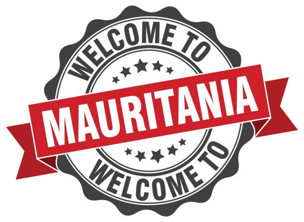 Mauritania round ribbon seal vector art illustration