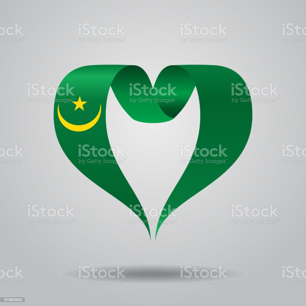 Mauritanian flag heart-shaped ribbon. Vector illustration. vector art illustration