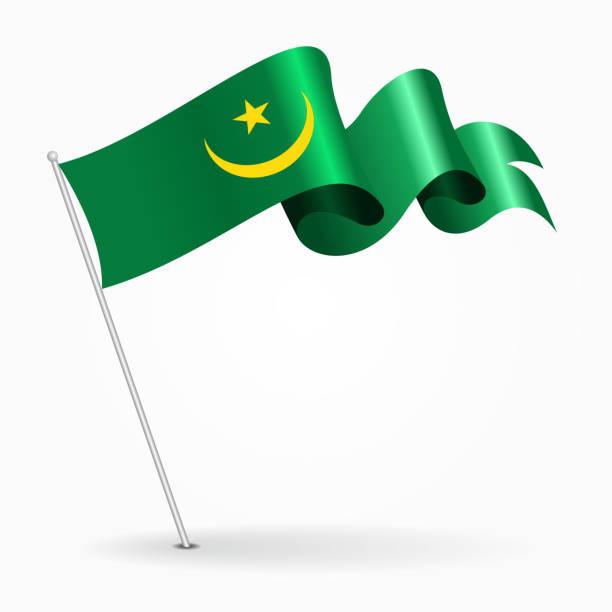 Mauritanian pin wavy flag. Vector illustration. vector art illustration