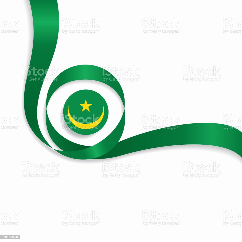 Mauritanian wavy flag background. Vector illustration. vector art illustration