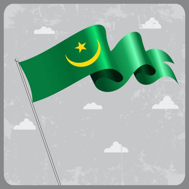 Mauritanian wavy flag. Vector illustration. vector art illustration