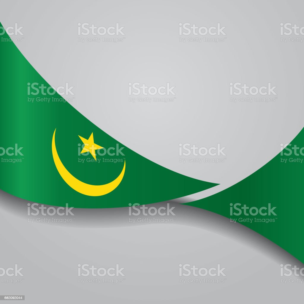 Mauritanian wavy flag. Vector illustration. vector art illustration