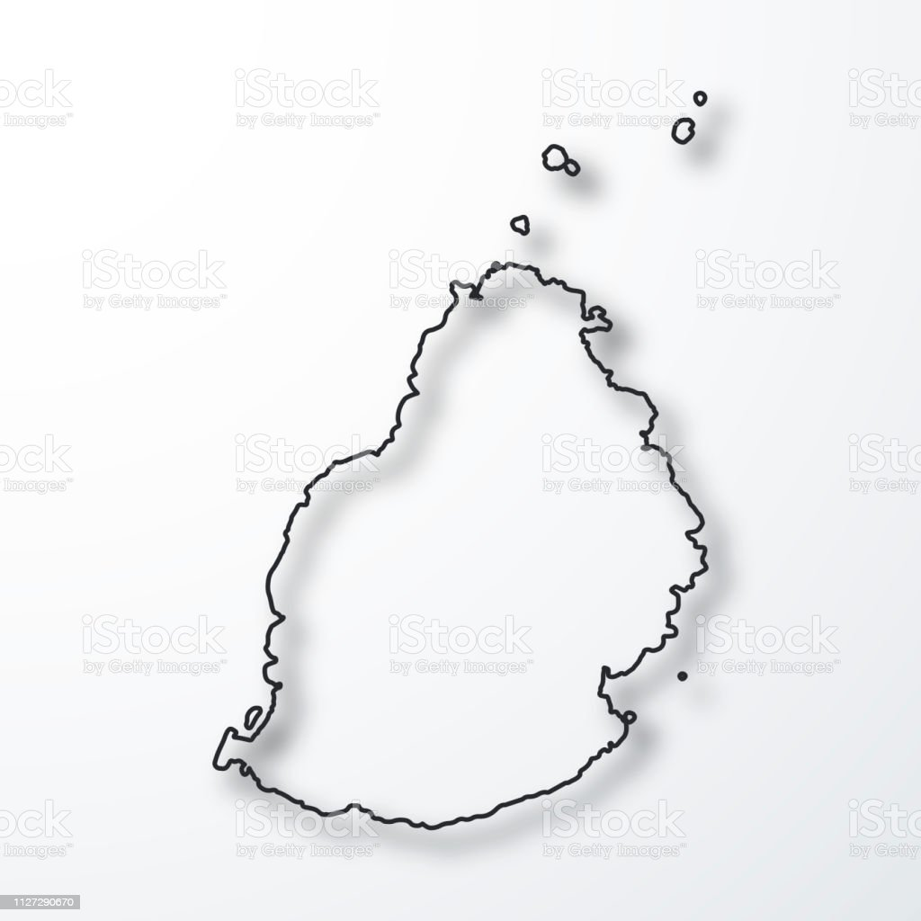 Mauritius Map Black Outline With Shadow On White Background Stock ...