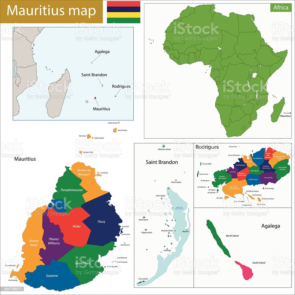 Mauritius Map Stock Vector Art IStock - Mauritius map in world map